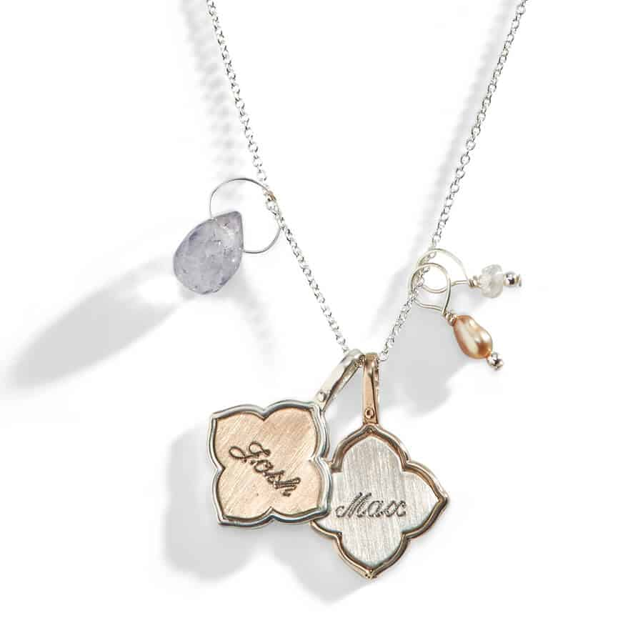 Silver necklace with five pendants