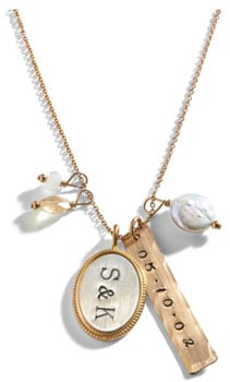 9a8714cd97e3 Some of our favorite examples of hand-stamped jewelry are the  flower-inspired Calyx Mixed Personalized Charm Necklace (above left) and  the classic Pavlova ...