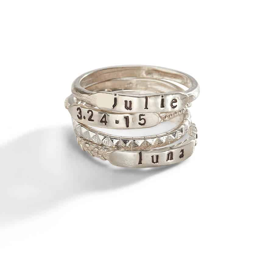 Personalized Rings stacked on top of one another