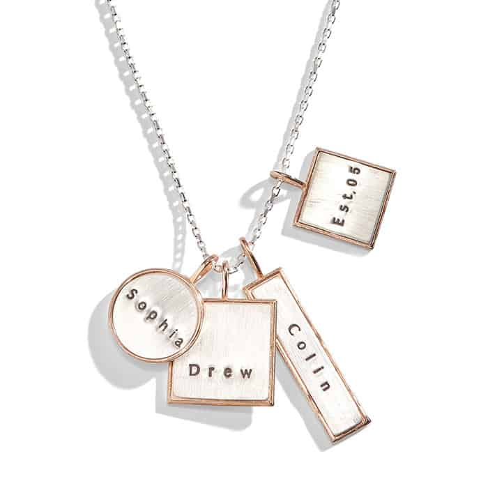 Mixed shape four pendant silver personalized necklace